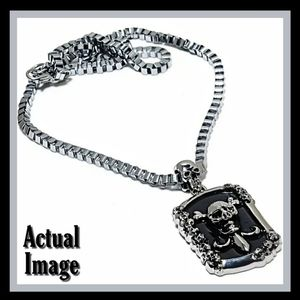 Mens Gothic Skull Biker Stainless Steel Necklace